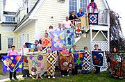Quilters & quilts on the Inn steps