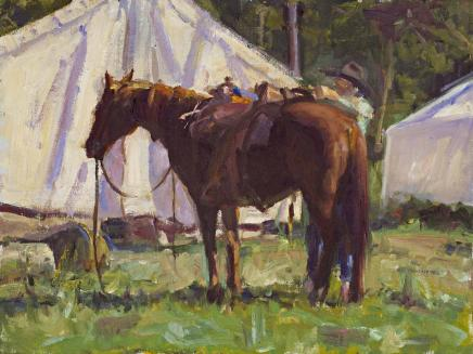 Saddling Up 12x16 Oil by Howard Friedland HM.jpg
