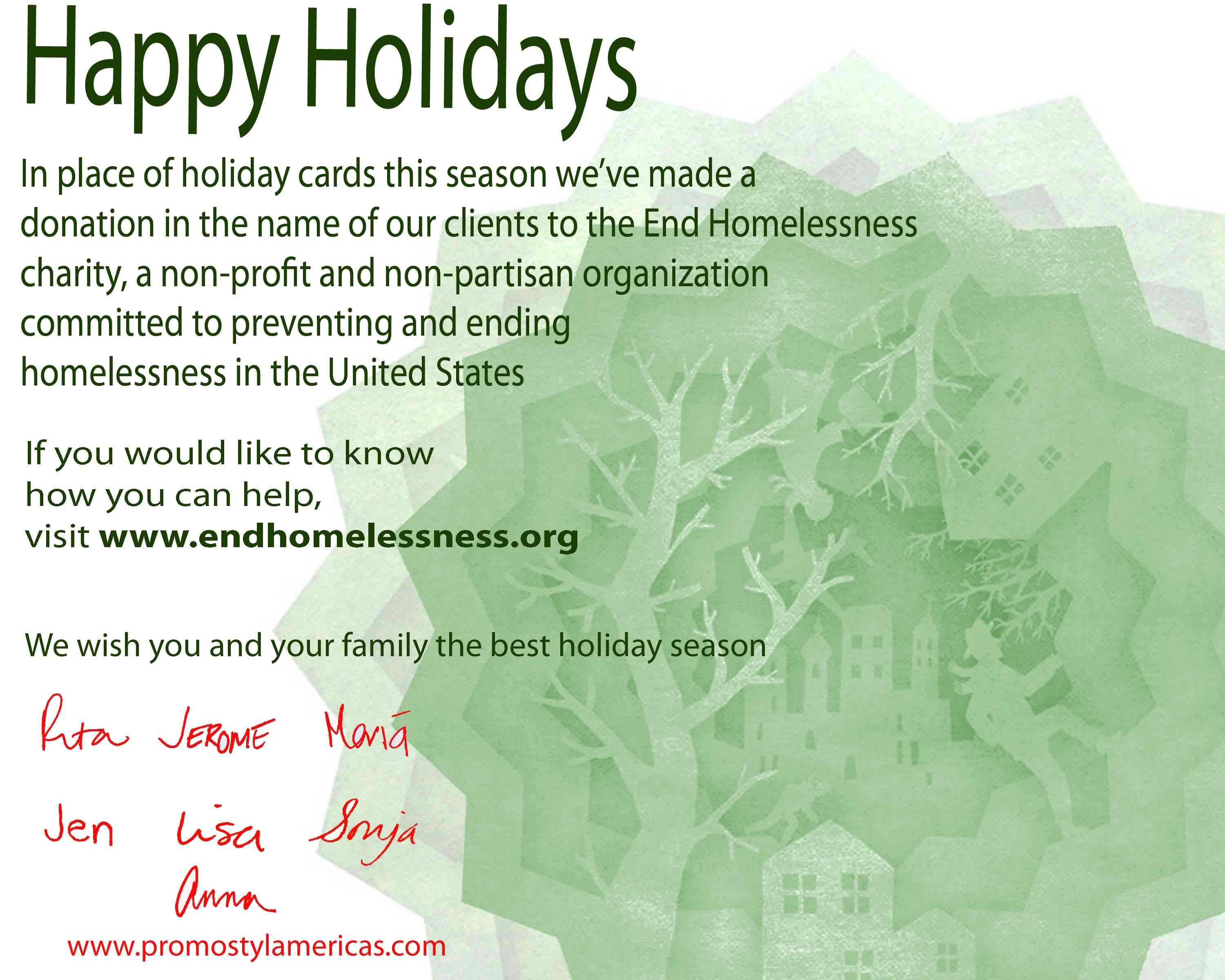 end homeless holiday charityjpg - Holiday Cards For Charity